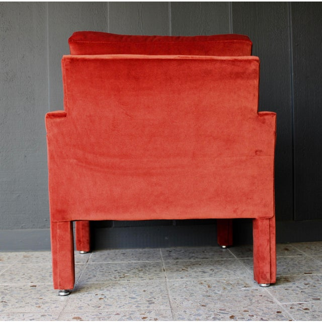 Reupholstered 1970s Mid Century Persimmon Velvet Milo Baughman Club Chair - Image 4 of 7