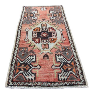 Vintage Turkish Oushak Tribal Rug- 1'7 x 3'