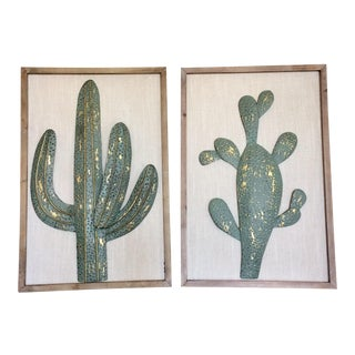 Modern Metal Cactus Wall Sculptures - A Pair