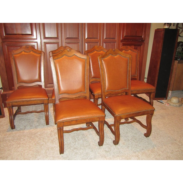 Stanley Leather Dining Chairs - Set of 6 - Image 2 of 11