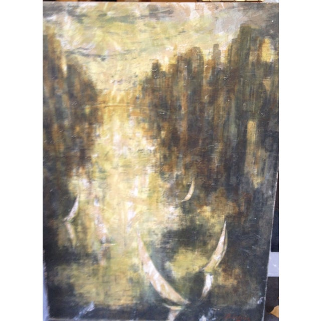 Vintage Abstract City Scene Painting - Image 2 of 3