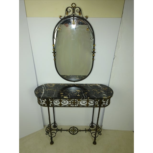 Image of Antique Oval Marble Console with Mirror