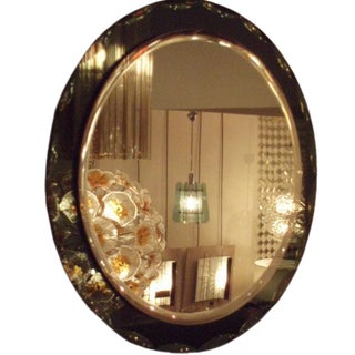 Oval Wall Mirror in the style of Fontana Arte, Italy circa 1960's