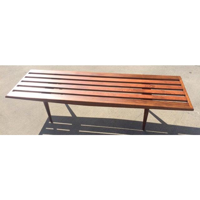 Mid-Century Danish Modern Slat Bench Coffee Table