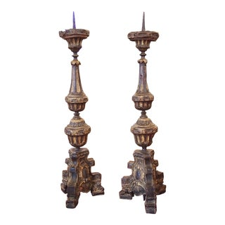 Louis XIV Style Tole Candlesticks