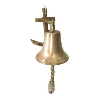 Vintage Nautical Brass Wall Hanging Bell on Anchor