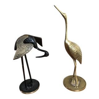 Brass Wading Birds - A Pair
