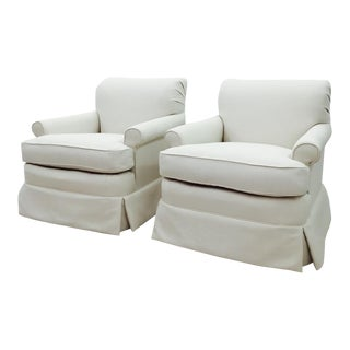Reupholstered White Linen Blend Chairs - Pair