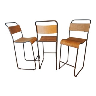 Kalalou Schoolhouse Molded Plywood Seat Bar Stool - Set of 3
