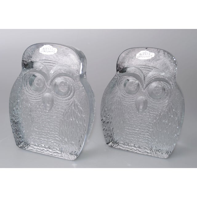 Vintage BLENKO Thick Glass Owl Bookends - Image 4 of 8