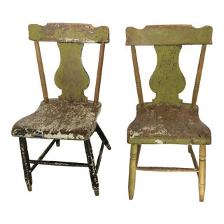 Antique Country Kitchen Chairs - Pair