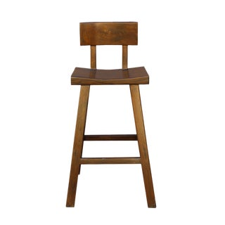 Handmade Solid Wood Brown A Line Bar Stool