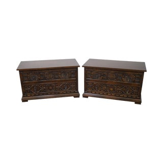Widdicomb Sunflower Carved Chests - A Pair