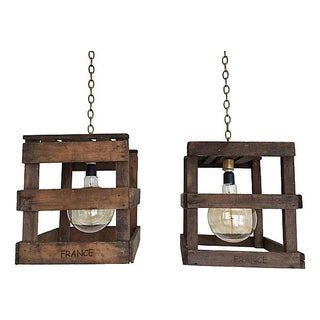 1940s French Wine Crate Pendants - Pair