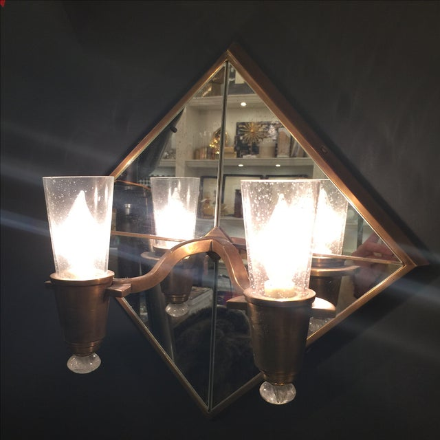 Double Arm Mirrored Sconce - New - Image 2 of 9