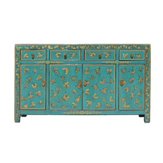 Chinese Distressed Turquoise Blue Golden Butterflies Sideboard Buffet Table Cabinet