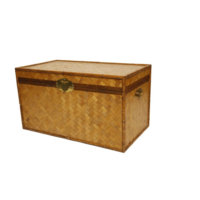 Vintage Rattan and Faux Bamboo Trunk - Image 2 of 6