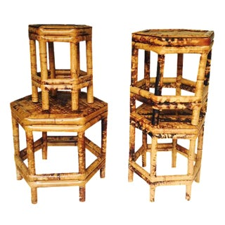 Chinoiserie Bamboo Plant Stands - Set of 4
