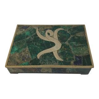 Mid-Century Stone Inlaid Brass Box