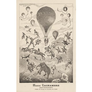 """""""Reaching the Sky"""" Print of French Balloon Company Advertisement From Late 1800's"""