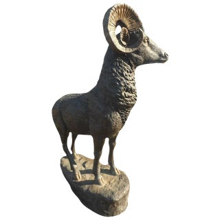 Large Bronze Horned Ram Statue