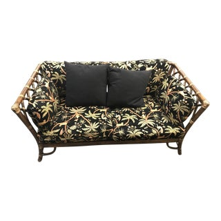 McGuire Bamboo Rattan Settee/Sofa With Jungle Theme Cushions