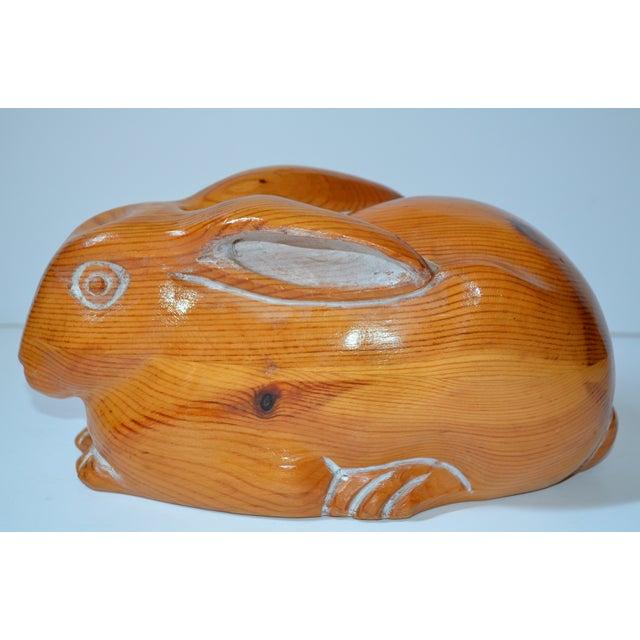 Sarreid Vintage Hand Carved Wooden Rabbit - Image 3 of 8
