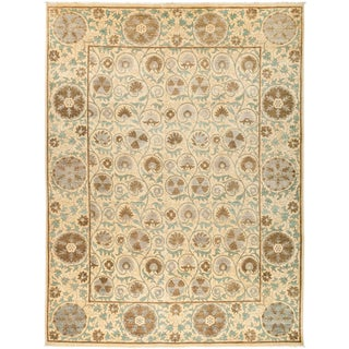 """New Neutral Suzani Hand-Knotted Rug - 9' 3"""" x 12' 3"""""""
