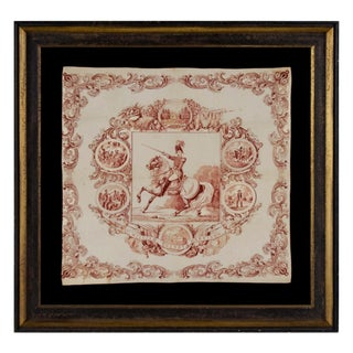 1840 CAMPAIGN KERCHIEF FEATURING AN IMAGE OF WILLIAM HENRY HARRISON ON HORSEBACK IN MILITARY GARB