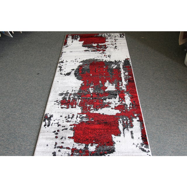 Abstract Red Rug - 3′ × 10′ - Image 3 of 4