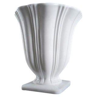 Art Deco Milk Glass Planter Urn Vase