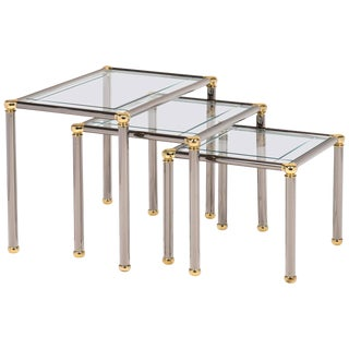French Gunmetal and Brass Nesting Tables- Set of 3