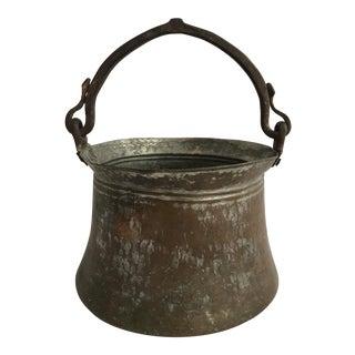 Vintage Copper Pot Cauldron With Iron Handle