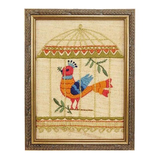 Bronze Framed Bird Embroidery