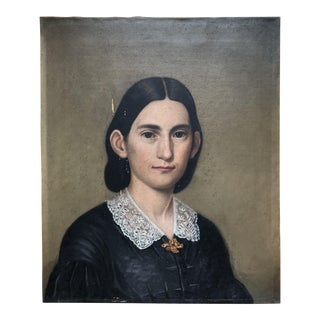 19th Century Portrait Oil Painting on Canvas
