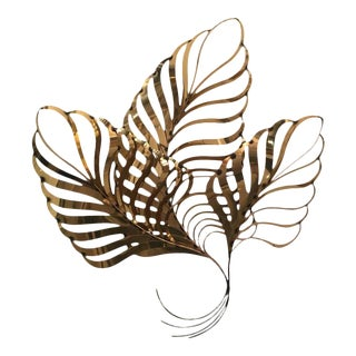 Curtis C. Jere Brass Palm Tree Frond Leaf Wall Hanging