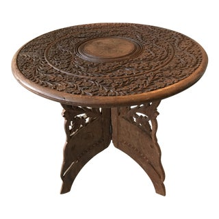 Indian Handcarved Wooden Plant Stand Table