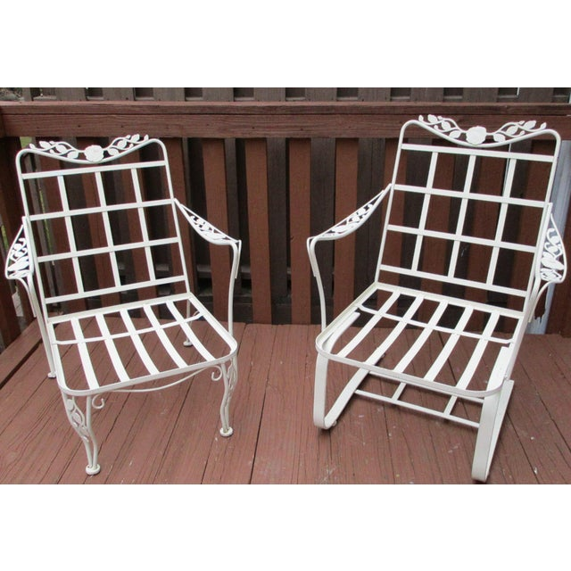 Vintage Russell Woodard Wrought Iron Chairs - Pair - Image 2 of 11