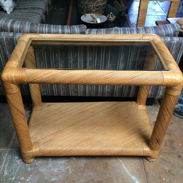 Two Tier Rattan Table - Image 3 of 6