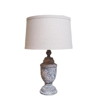 French Country Hand Carved Wood Lamp