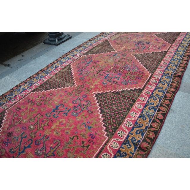 "Persian Antique Handmade Runner Rug -- 3'3"" x 10'5"" - Image 5 of 6"