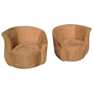 Ultrasuede Swivel Barrel Chairs in Tan - A Pair