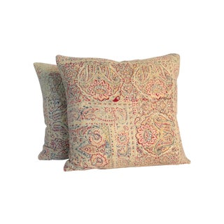 Vintage Block Printed Kantha Pillows - A Pair