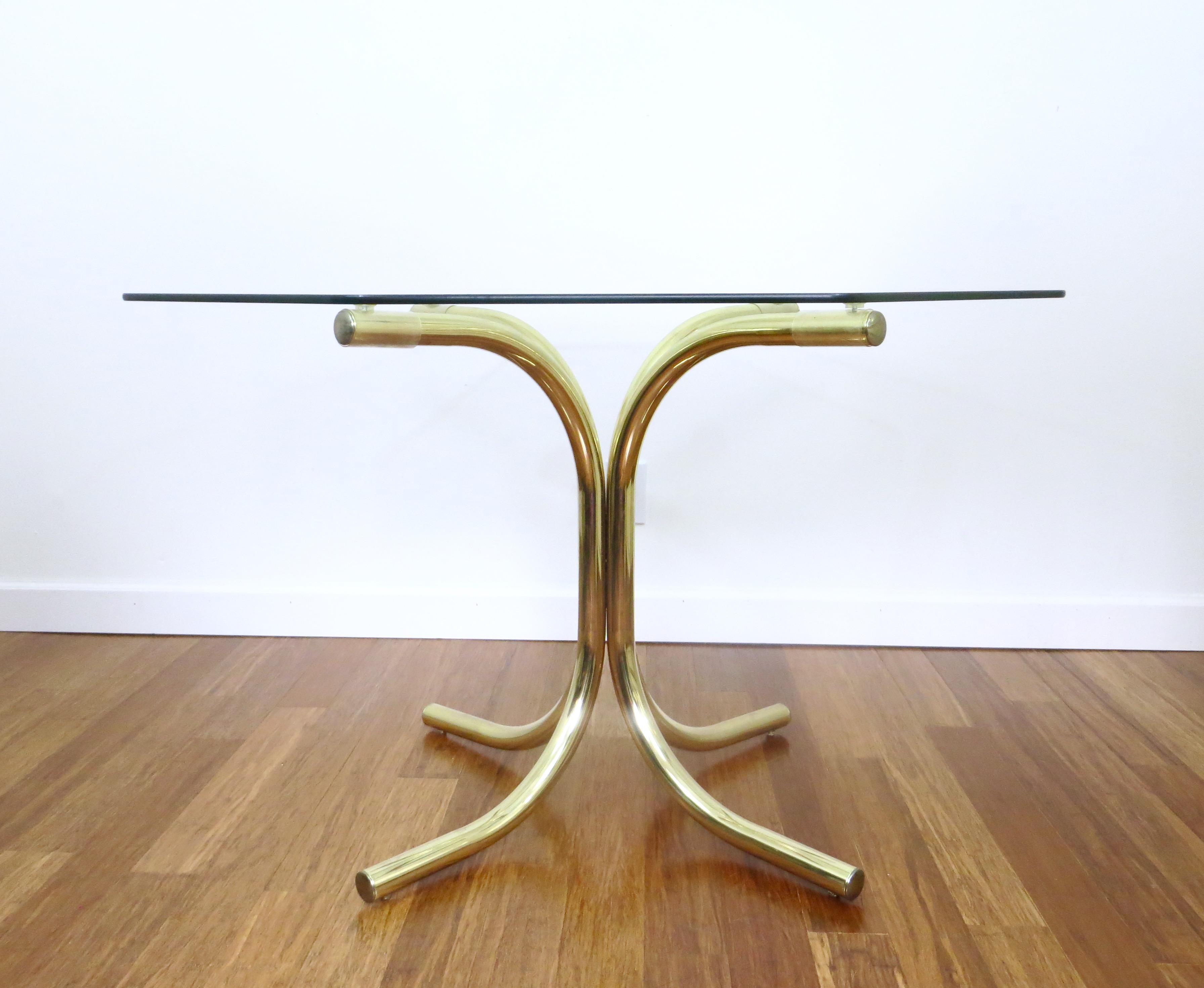 Vintage Brass U0026 Glass Octagonal Dining Table   Image 3 ...