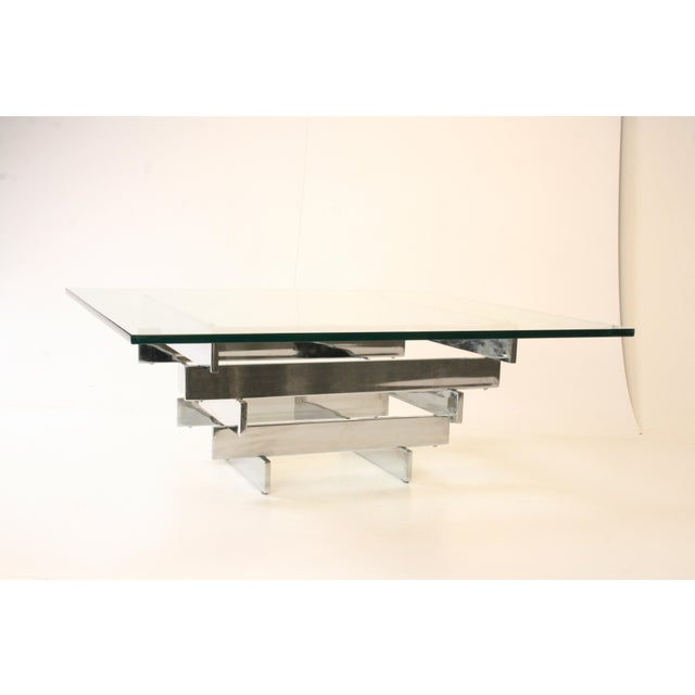 Mid Century Chrome And Glass Coffee Table: Paul Mayen Mid-Century Chrome & Glass Coffee Table