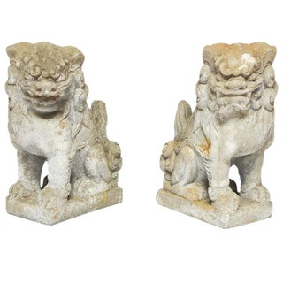 Chinese Stone Guardian Foo Lions - A Pair