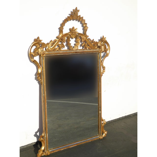 Large Vintage French Italian Rococo Ornately Carved Gold Gilt Wall Mantle Mirror Made in Italy - Image 5 of 11
