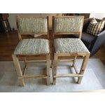 Image of Calypso St. Barth Sandstone Woven Leather Stools - A Pair