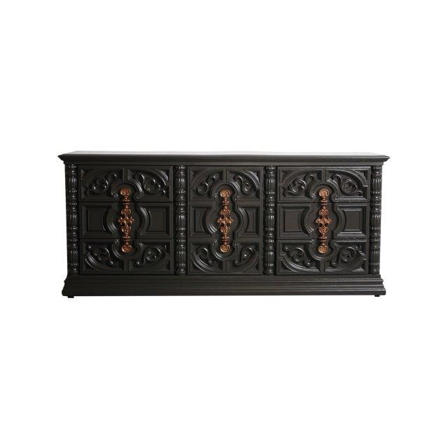 Hollywood Regency Gray & Bronze Dresser - Image 1 of 9