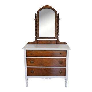 Vintage White Dresser & Mirror